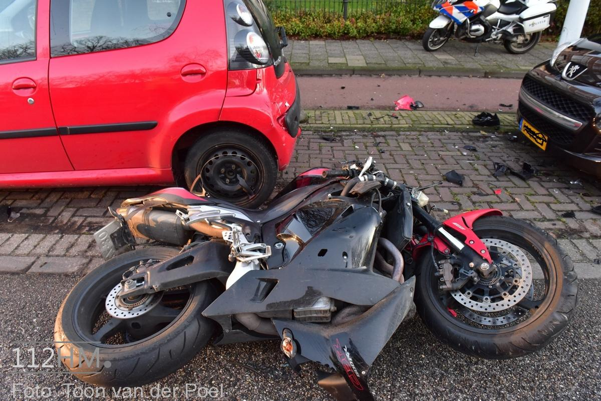 Ongeval auto vs motor JvHoutkade LDN (4)